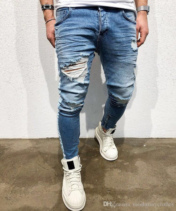 Mens rayé lumière Blue Jeans Holes Ripped Distressed High Street Crayon Jean Pantalons