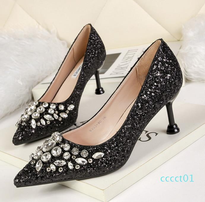 Sexy glitter prom shoes red silver gold pointed kitten heel pumps bridal wedding shoes luxury women designer shoes size 34 to 40