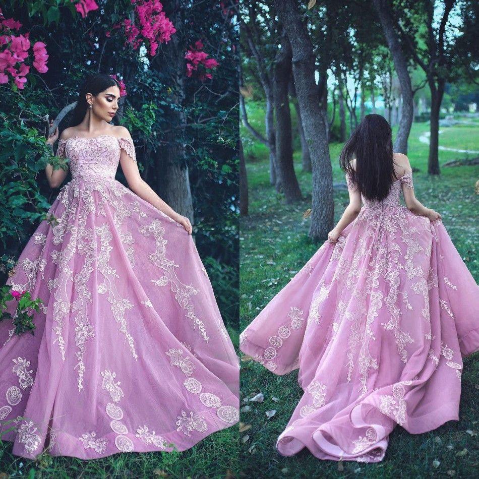 Sur l'épaule Une ligne Cap Sleeve robes de bal 2019 modeste Full Lace formelle robes de soirée arabe Dubai Robe De soirée soirée longueur robe