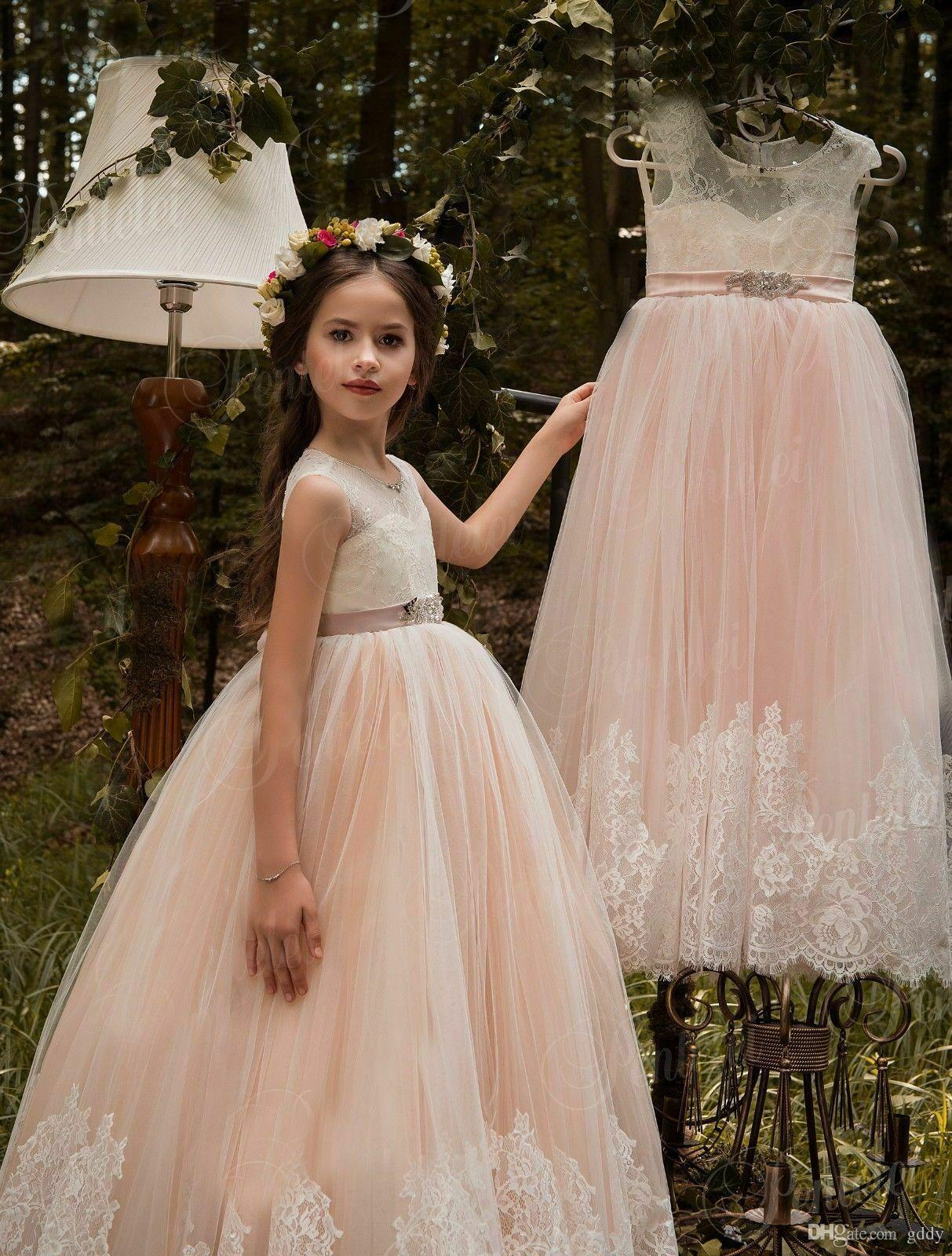 New Flower Girls Champagne Pink Organza Dress Wedding Party Christmas Easter