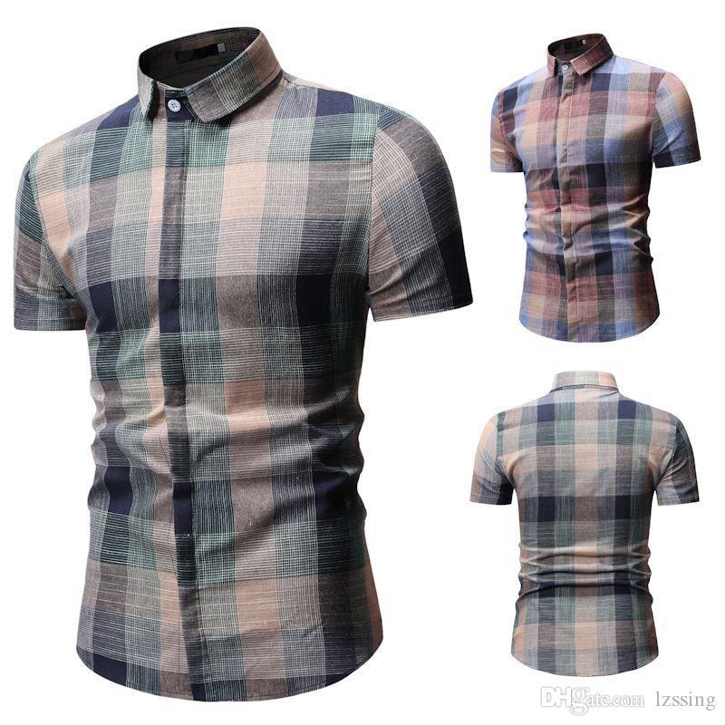 Mens Camisa de Negócios Xadrez Camisas Curtas Camisas de Mangas Compridas Formal Clássico Verificado Masculino Social Camisas de Vestido 1801-YS53