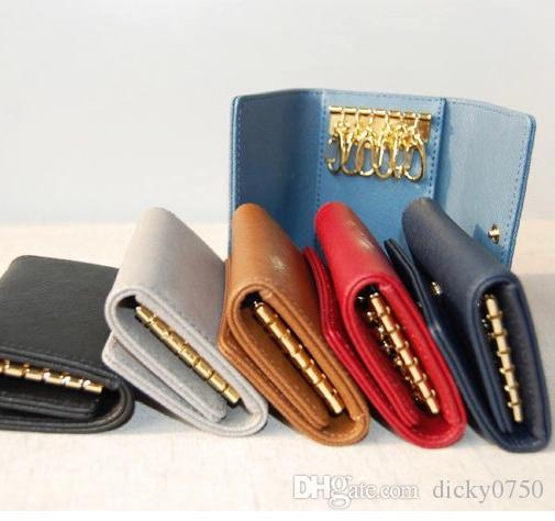 الجملة مصمم محفظة مفتاح للرجال متعدد الألوان مصمم جلد قصيرة محفظة ستة حائز المفتاح للنساء سحاب الكلاسيكية سلسلة مفتاح جيب