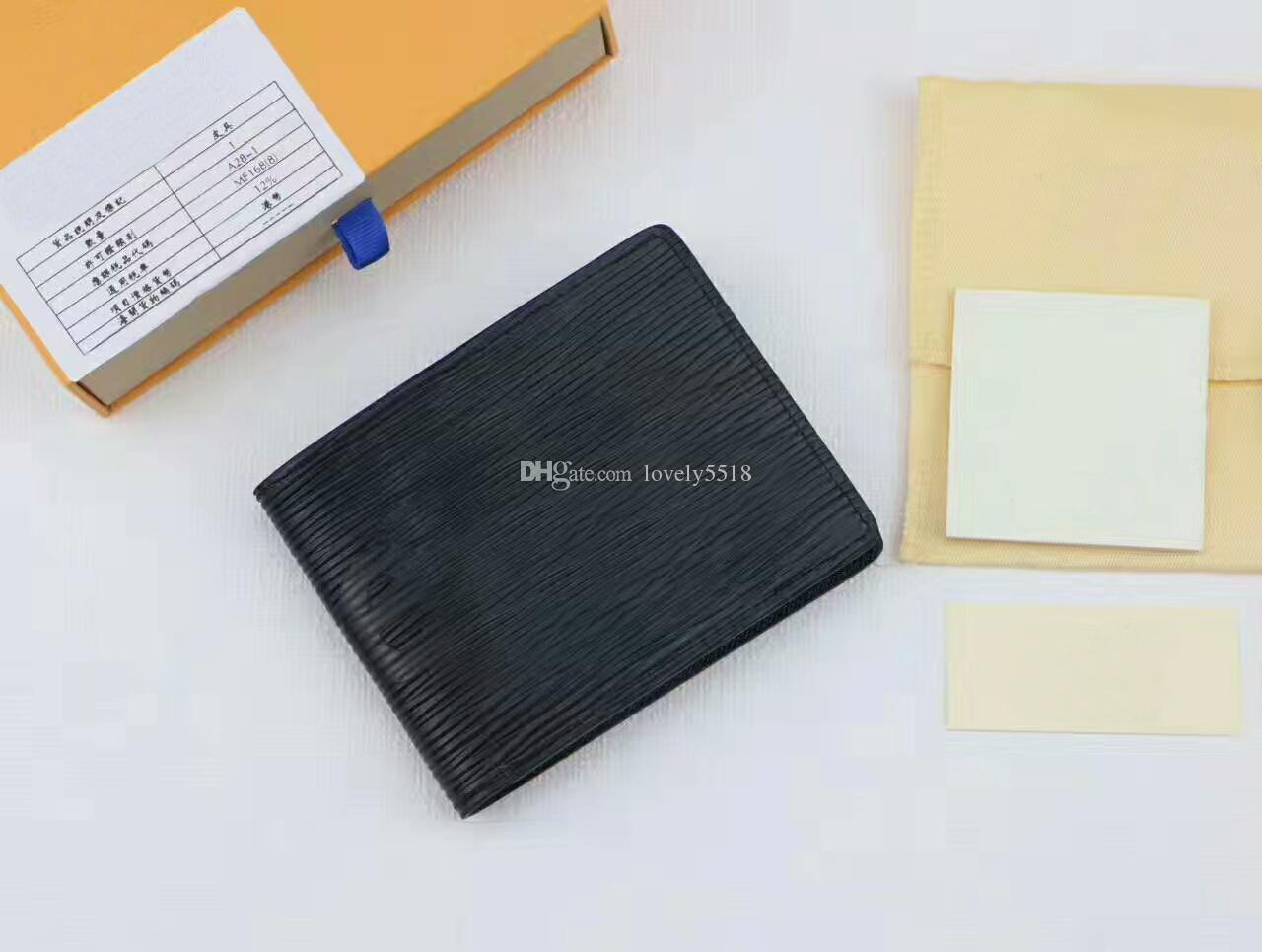 Women/Men Card Holder Purses High quality Box logo Famous Brand Genuine Leather Short Water Ripple wallets With Box dust bags C#8 For black