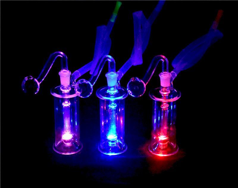 Mini reciclado del vidrio Bong aceite ligero Bombillas tubo de agua Rig Bongs en línea Perc Dab Rig ceniza de pipa de agua receptor con tubo de quemador de aceite de 10mm