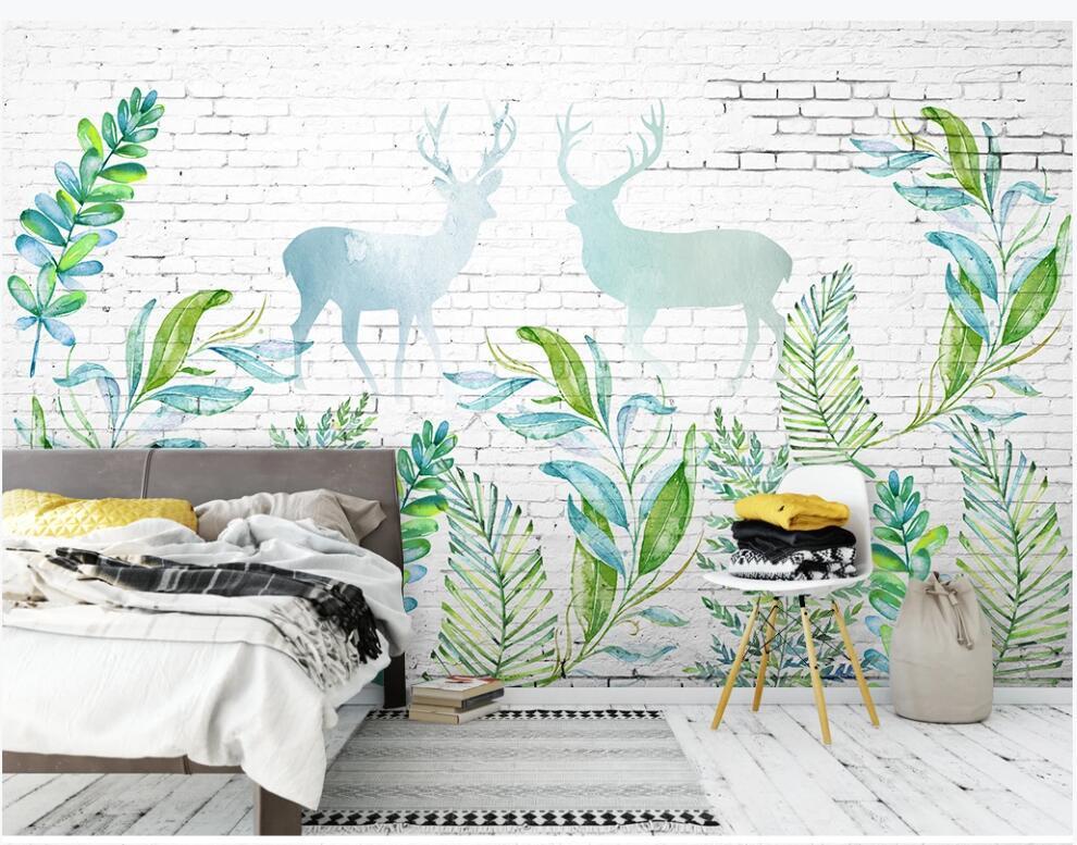 3d обои комнаты пользовательского фото Современного минималистский белого кирпичная стена дерево лист лоси фон декор дома 3d стена фреска обои для стен 3 д