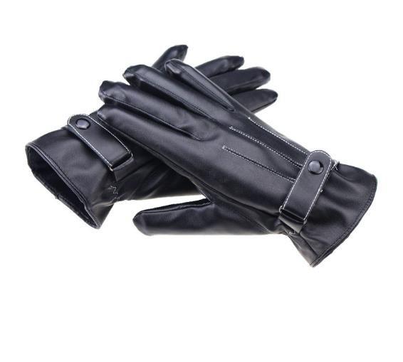 Novos homens de luvas de couro três reforços no inverno para manter o toque de veludo quente mão do vento masculino por luvas de condução de bicicleta