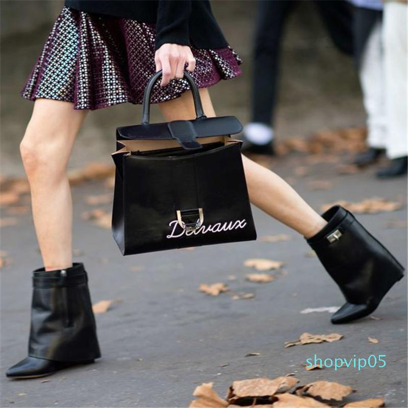 Hot Sale-Design Shark Lock Ankle Boots Woman Pointed Toe Real Leather Height Increasing Wedge Mid-Calf Boots Woman Fashion Short Boots
