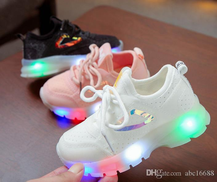 Children LED Lights Luminous Shoes Boys Girls Casual Shoes Knitted Kids Sneakers