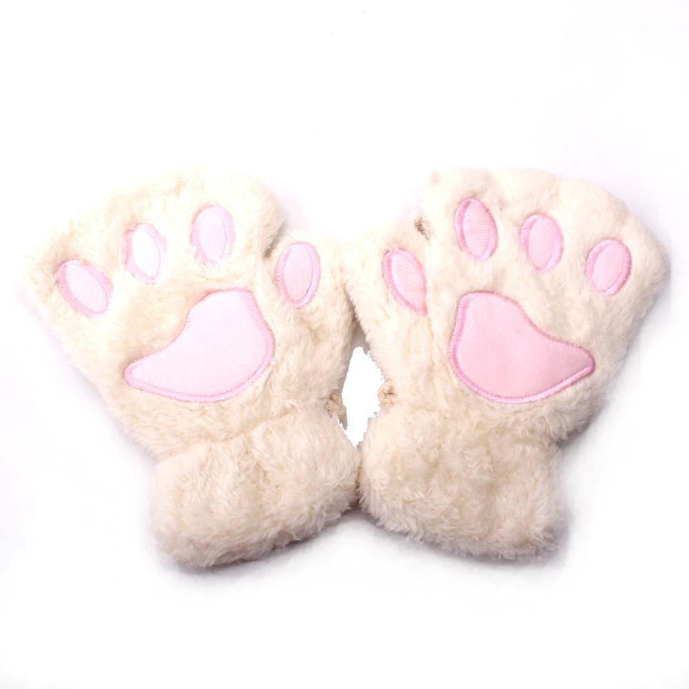 2019 Guantes oso Niños gato garra de la pata de la manopla sin dedos invierno felpa adorable Glovers trabajo en templado de seguridad Finger media corta Guantes