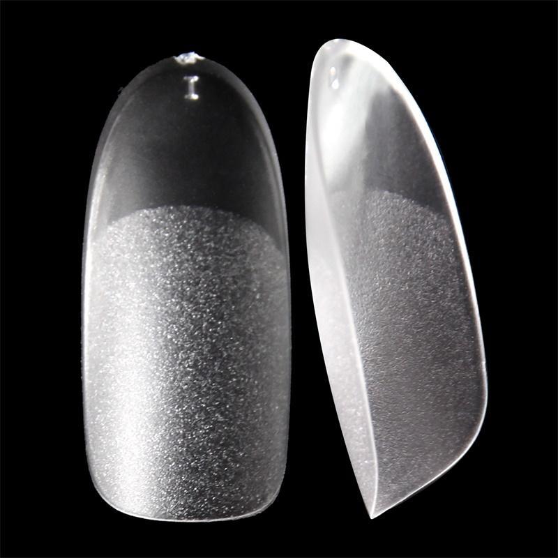 UV falsos gel de las extremidades del clavo oval Mate superficie interior y punta de las uñas delgadas estilo de acrílico transparente Frech