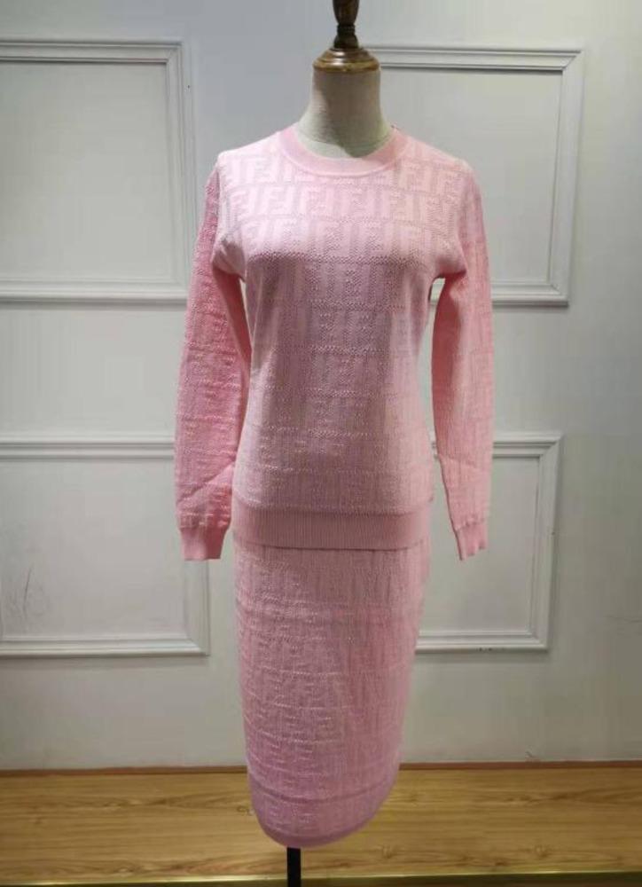 F55 2019 donne di stampa di modo Wrap Dress Twinset dei vestiti di vestito maniche lunghe maglia gonna