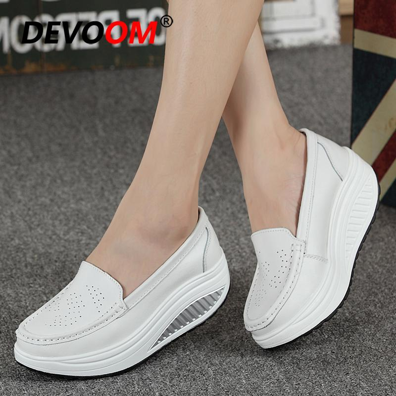 DQQ Womens White Slip On Loafer Flat Shoes 6 US
