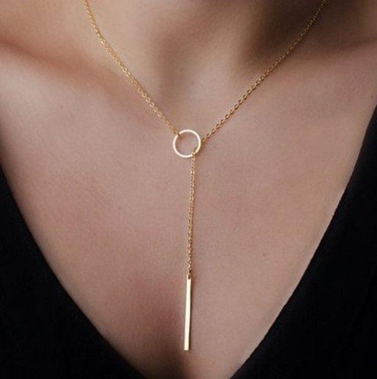 Punky Europa y las joyas de plata anillo de metal sencillo collar de la cadena del cuello corto clavícula cadena adornos Mujer Estados Unidos