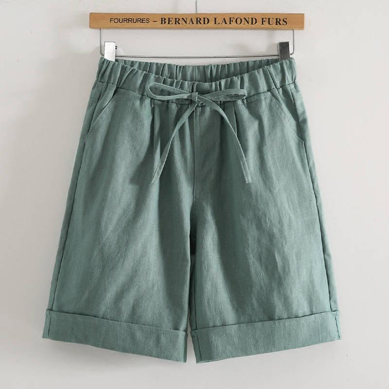 Leinen-Shorts für Frauen elastische Taillen-Sommer-beiläufige Shorts mit Taschen Plus Size Baumwolle Leinen Shorts S-5XL 85kgs