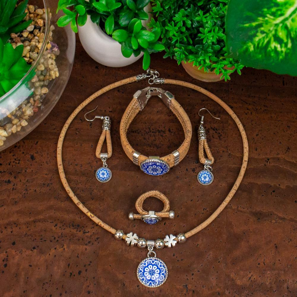 6 Cork Jewelry Set From Portugal Traditional Ceramic Tile