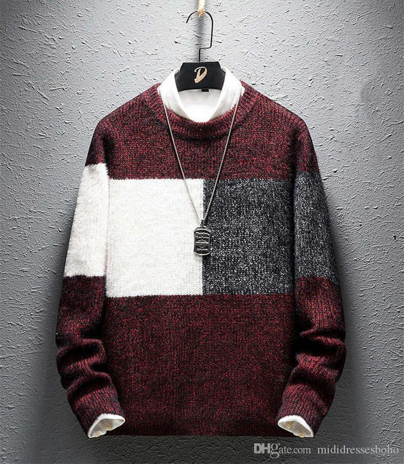 Mens Pullover Maglione maniche lunghe rappezzatura di modo maglione casuale allentato o collo delle parti superiori Mens Stilisti di lusso