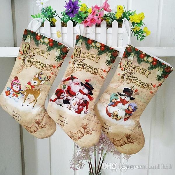 Noel Çorap Büyük Çorap Noel Baba / Kardan Adam / Dekorasyon Asma Elk Şeker Hediye Çanta Noel Ağacı