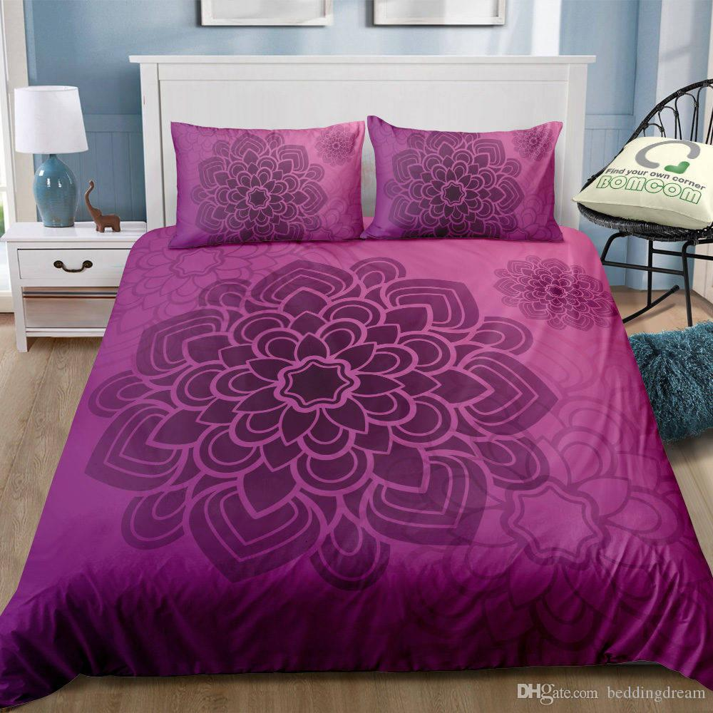 Purple Bohemia Style Bedding Set King Size Luxury Big Flower Simple 3D Duvet Cover Queen Home Dec Single Double Bedspread with Pillowcase