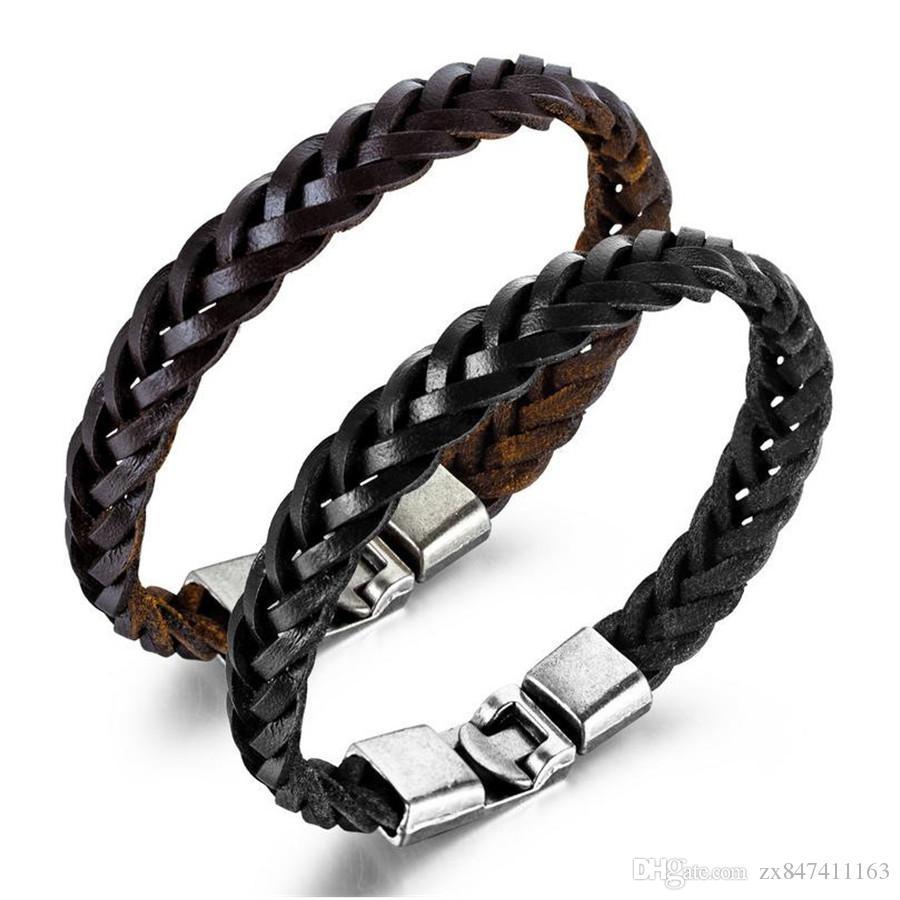 Fashion Hommes Charm Bracelets Design fait à la main Bijoux Hip Hop Hop Bijoux Punk Men Garçon Colle En Cuir Black Bracelet brun pour cadeau