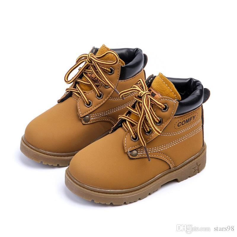 Comfy Дети Зимняя Мода Детские Кожаные Ботинки Снега Для Девочек Мальчиков Теплые Ботинки Мартина Обувь Повседневная Плюшевая Детская Детская Обувь Малыш