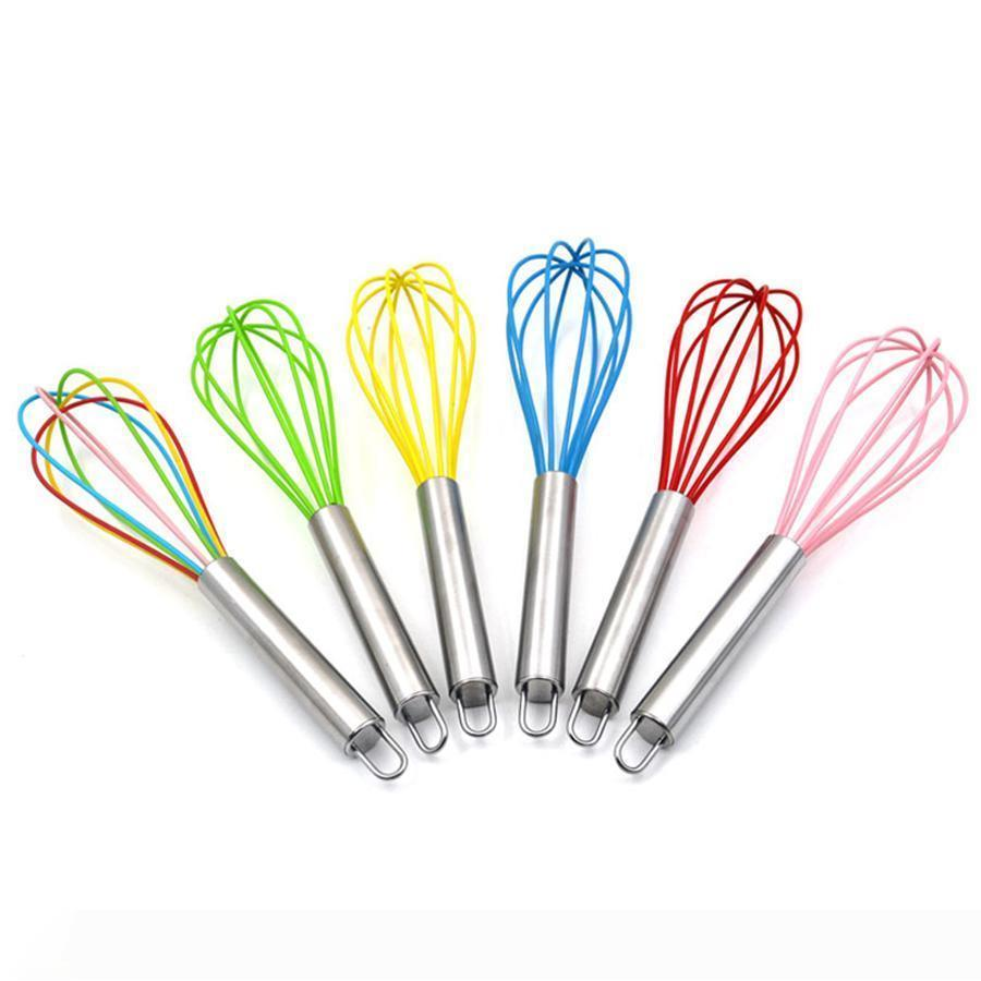 10 pollici frusta a fili in silicone agitatore Mixer Frullino colori Frusta in acciaio inox Maniglia famiglie cuociono l'attrezzo DH0162