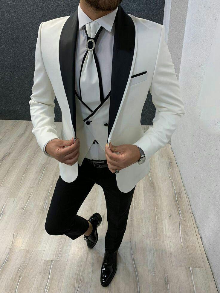 Groom Tuxedo Men Suits Wedding Suit Man Blazer Black Shawl Lapel 3Piece Jacket Pant Vest Terno Masculino Bridegroom Costume Homme Mariage