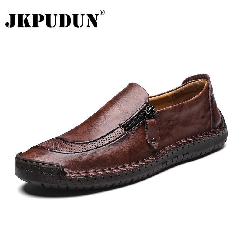 JKPUDUN الرجال الاحذية الجلدية حقيقية زلة رجل متعطل الأخفاف اليدوية في أحذية قارب الكلاسيكي Chaussure أوم الحجم