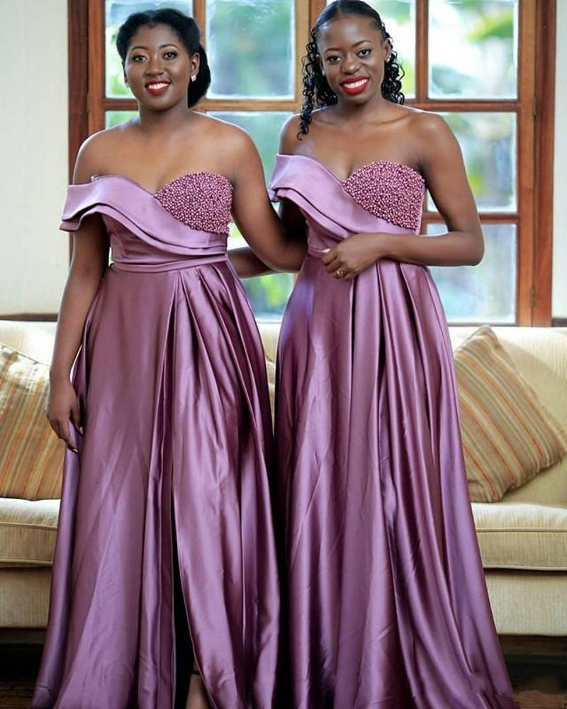 Lilac Elastic Silk like Satin Prom Dresses One Shoulder Pearls Guests Dresses High Split Formal Maid of Honor Dresses Party Evening Gowns