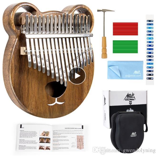Aklot Kalimba Thumb Piano Marimba 17 Keys Solid Wood Carry Case Tuning Hammer Study Booklet Cleaning Cloth Sticks