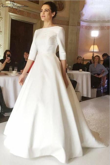 Атласные свадебные платья 2019 Простые A-Line 3/4 с длинным рукавом на пуговицах назад развертки поезд свадебное платье цвета слоновой кости плюс размер Vestido De Noiva