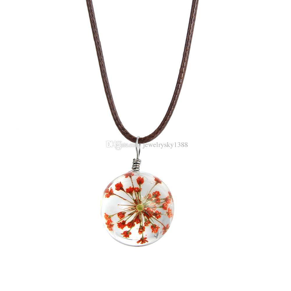 Transparent rond collier en cuir pendentif en verre fleur dired pour les femmes lovey longue chaîne extensible collier bijoux cadeau