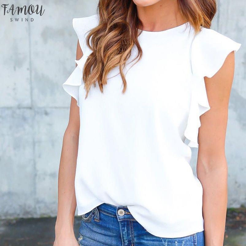 Nuova camicetta delle donne 2020 Estate Sexy One increspature della spalla camice femminili casuali dimagriscono Blusas Plus Size eleganti Tee Tops