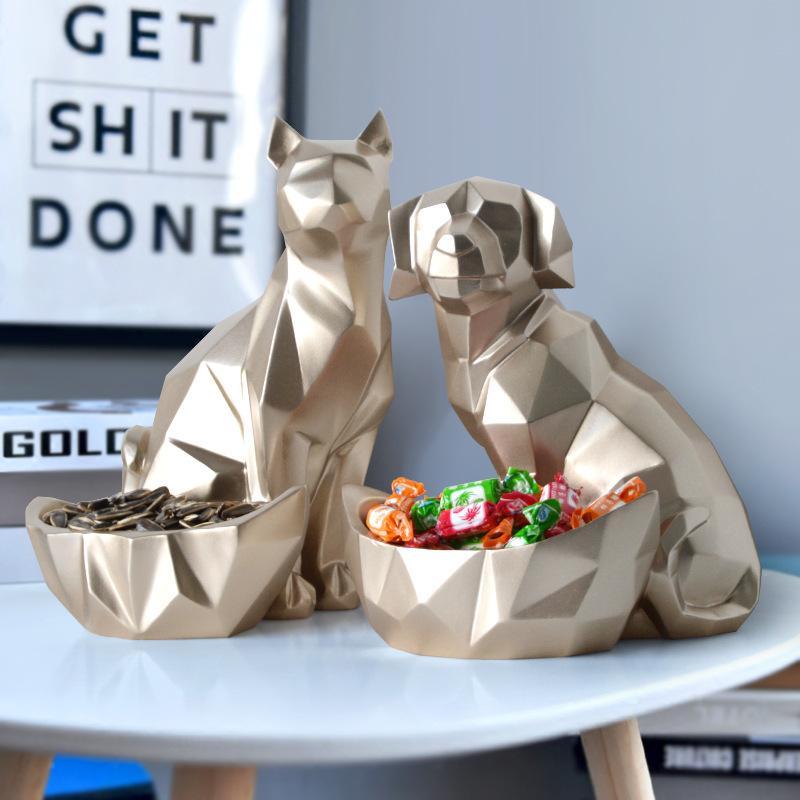 Habitación creativa perro estatua decoración del hogar TV gabinete gabinete del vino Living Crafts clave Galletas Almacenamiento regalo de la decoración Decoración
