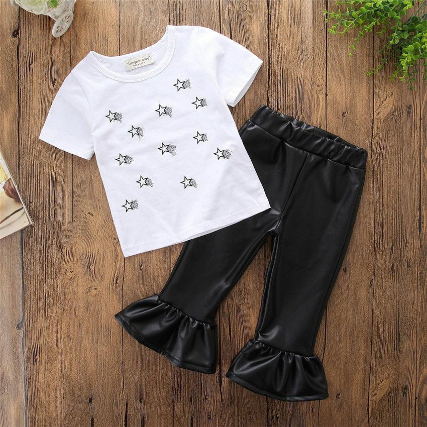2 PC neonata dei capretti della stella di modo sveglio bianco freddo maglietta delle parti superiori + i pantaloni di pelle lungo bell-bottom Pantaloni Abiti Set