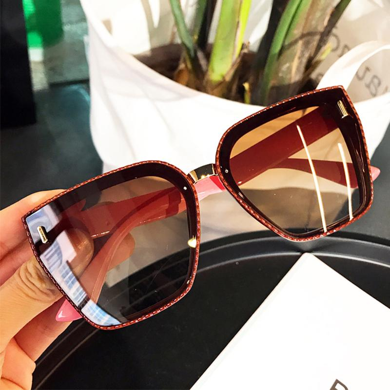 REAL NIÑA gran tamaño de las mujeres gafas de sol polarizadas de la vendimia de la armadura de la plaza del marco del patrón para mujer Gafas de sol Marca ss512 diseñador