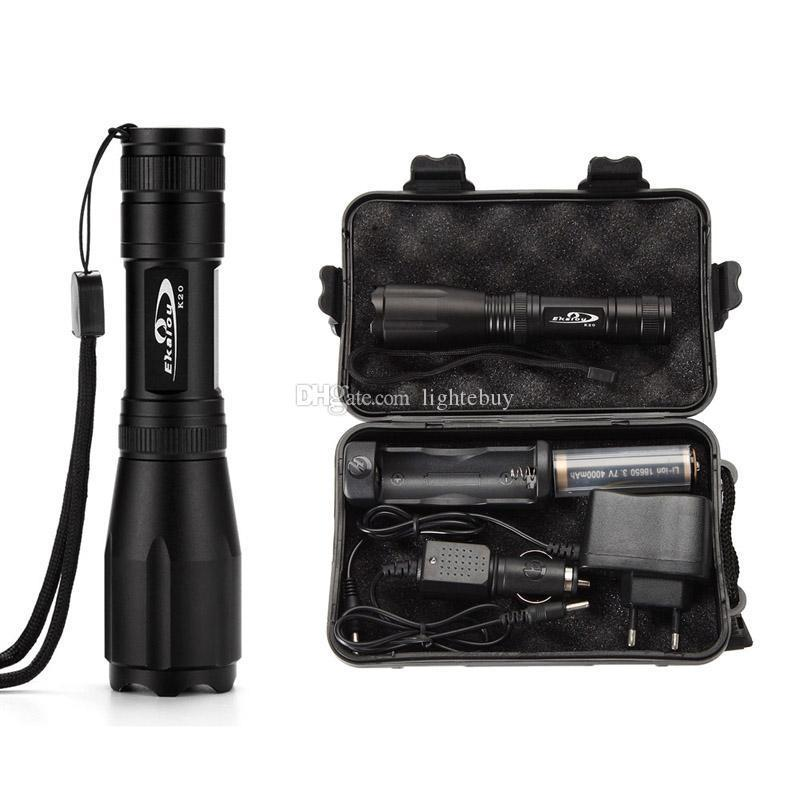 Tactical XML T6 LED Flashlight Torch Lamp Zoomable+18650 Battery+Charger