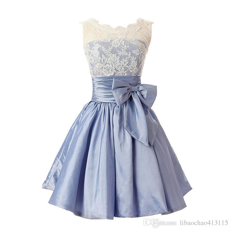 38070a7642e Elegant Lace Prom Dresses Satin 2019 Sexy Prom Dress Short Bridesmaid  Homecoming Dress Graduation Knee- ...