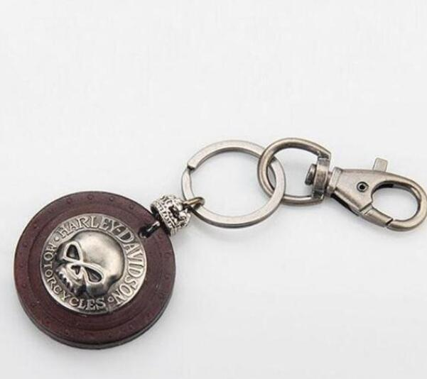 Cowboy Skull leather key fob or keychain