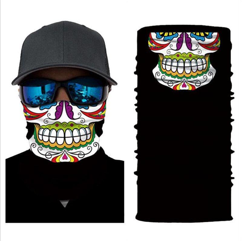 los hombres y mujeres de venta directa conducción deportiva mágica cambiante de la protección solar payaso fantasma de la historieta de la bufanda cara del cráneo 25 * 50cm