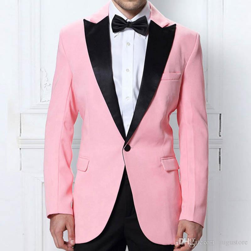 Rosa Bräutigam Hochzeit Smoking Männer Anzüge Hosen 2Piece (Mantel + Pants) Slim Fit Kostüm Homme Schwarz spitzen Revers Terno Masculino Trajes de hombre