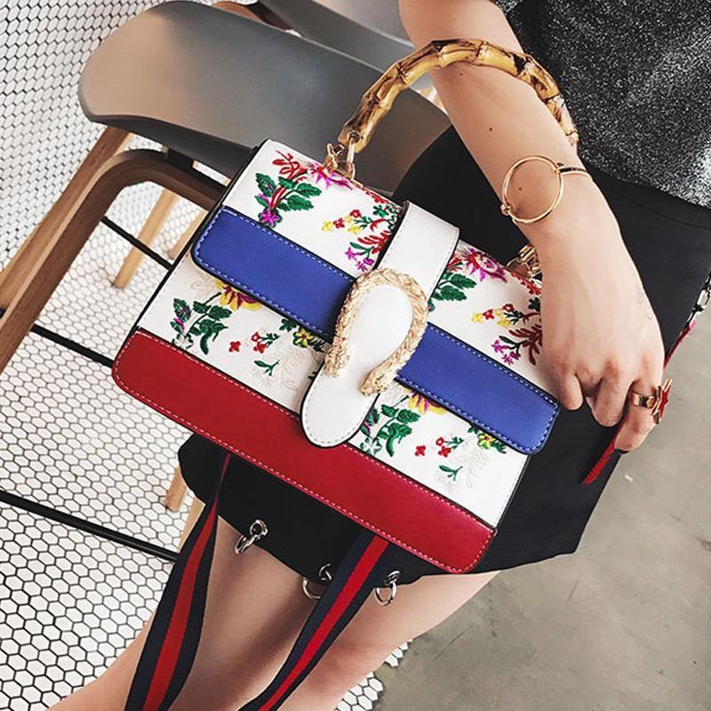bamboo handle tote bag flower embroidery bag fashion women top-handle bags fringe shoulder strap bag designer handbags high quality