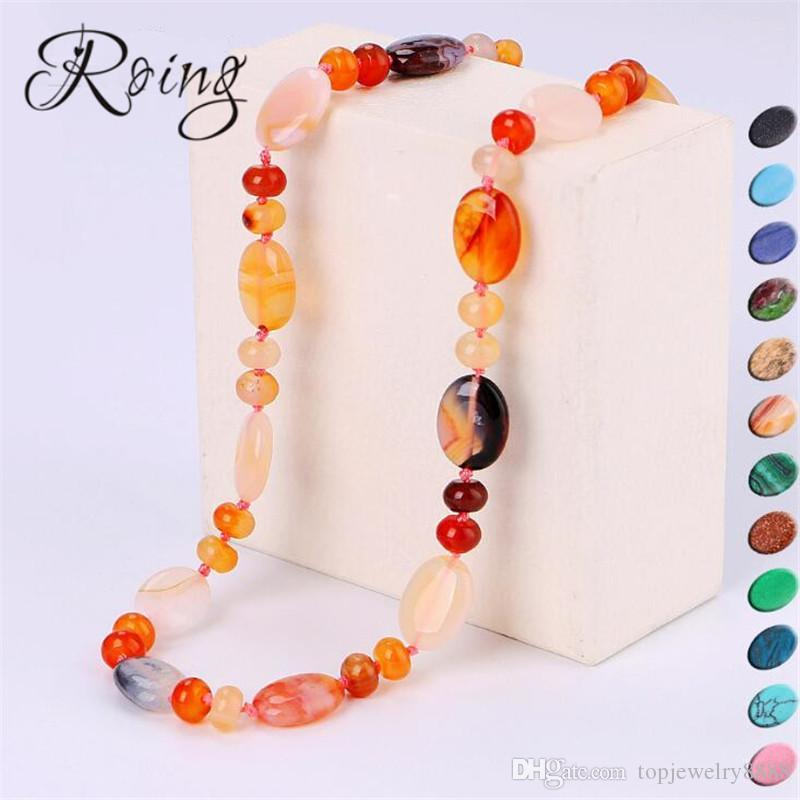 Roing Mutil Color Nature Stone Necklace Bohemian Beads Necklace Jewelry Energy Gem Exquisite Birthday Anniversary Gift N067-N080