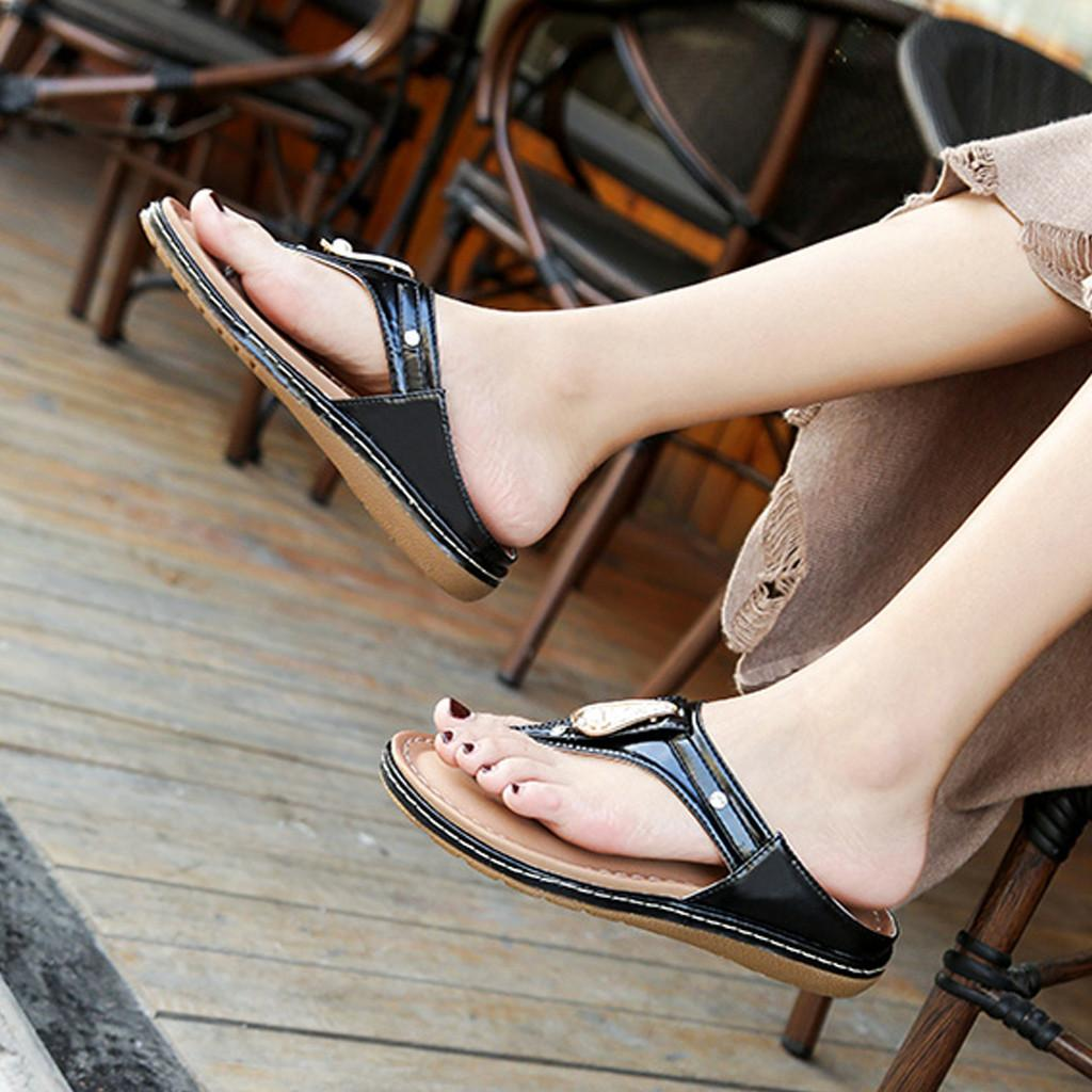 Damenschuhe Mode Flip Flops Schuhe Böhmen Strass Sandalen Clip-Zehehefterzufuhren beiläufige Strand-Schuh-Sommer Soft-c14