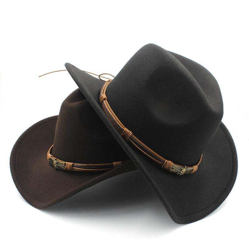 Cappello da cowboy occidentale della lana degli uomini delle donne di modo con il cinturino del dio del sole Cowgirl Jazz Toca Sombrero Cap del padrino Dimensione 56-58CM