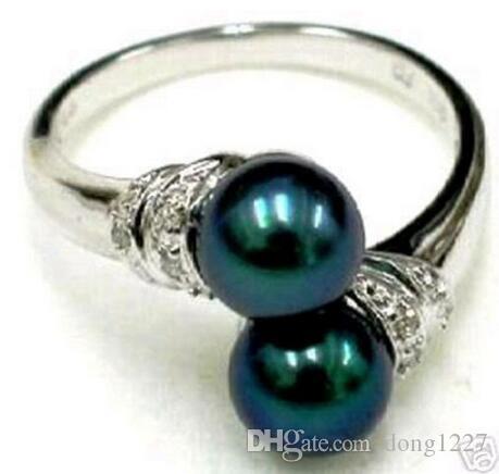 Envío libre negro Shell Pearl tamaño del anillo
