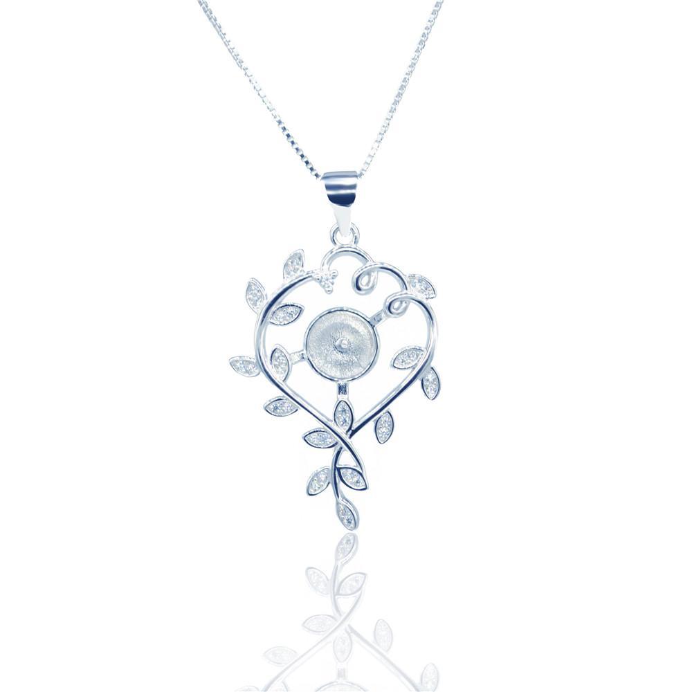 оптовая Мода S925 Серебряного кулон креплений Art лист жемчужных крепления подвеска DIY аксессуары ожерелье Бесплатная доставка