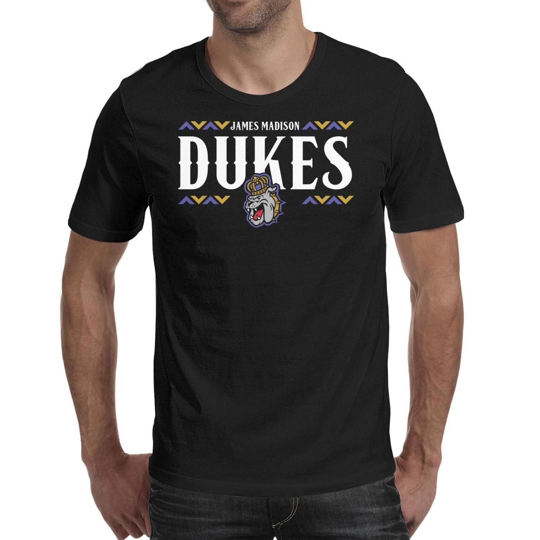 Мужская печать Вирджиния Джеймс Мэдисон Дьюкс футбол Wordmark черная футболка Дизайн Удивительные Повседневные Рубашки Классическая Сетка Флаг США Штрих старый