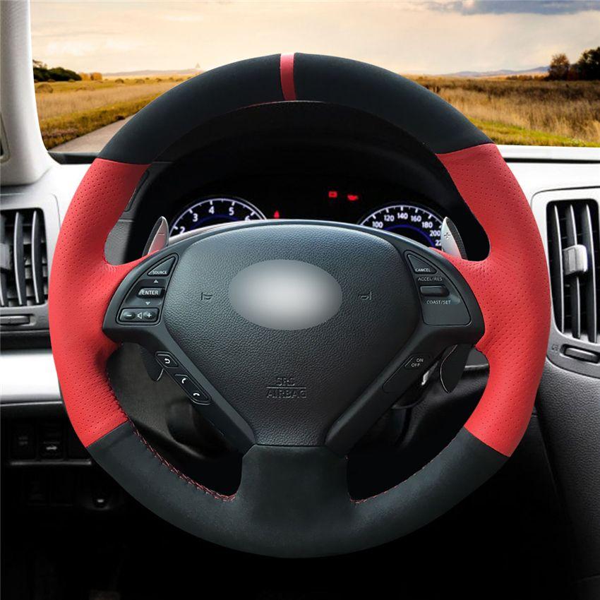 أحمر جلد التوجيهية الأسود الجلد المدبوغ اليد خيط التفاف السيارة عجلة الغطاء لإنفينيتي G25 G35 G37 QX50 EX25 EX35 EX37 2008-2013