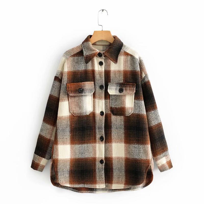 Chic contraste de la vendimia Colores remiendo de la tela escocesa de la chaqueta Las mujeres con estilo para dar vuelta-Cuello ocasional de la capa de las muchachas de Calle