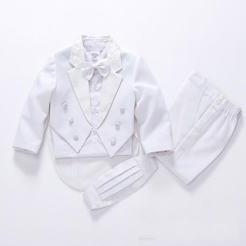 Hot 2018 Moda de alta qualidade preto / terno criança branca para ternos de casamento menino para meninos ternos do bebê da flor frete grátis 5-Piece